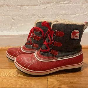 Sorel Tivoli Waterproof Boot in Red Croc/Denim 11